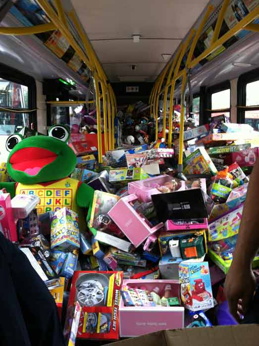 The inside of bus No. 1 is shown Friday morning at the &#39;Spark of Love Toy Drive&#39; at Los Cerritos Center on Nov. 18, 2011. <span class=meta>(KABC Photo)</span>