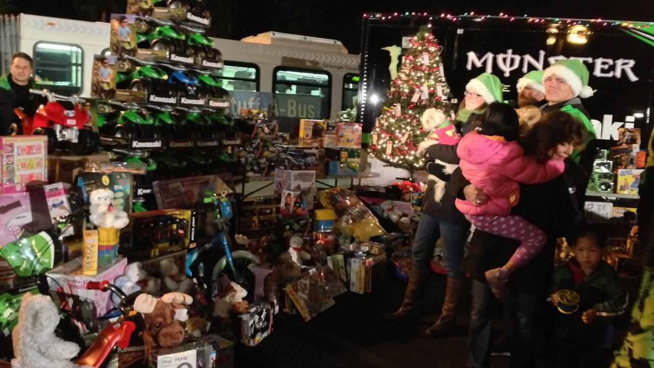 Kawasaki donated gifts at the Stuff-A-Bus toy drive at the Honda Center in Anaheim on Friday, Dec. 21, 2012.