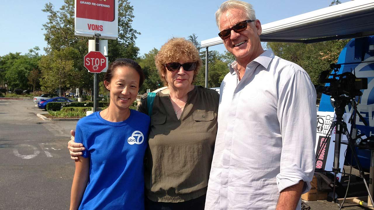 ABC7 Weathercaster Garth Kemp poses with his mother Eileen and ABC7 assignment editor Julie Sone at the Feed SoCal initiative in Thousand Oaks on Friday, July 19, 2013.