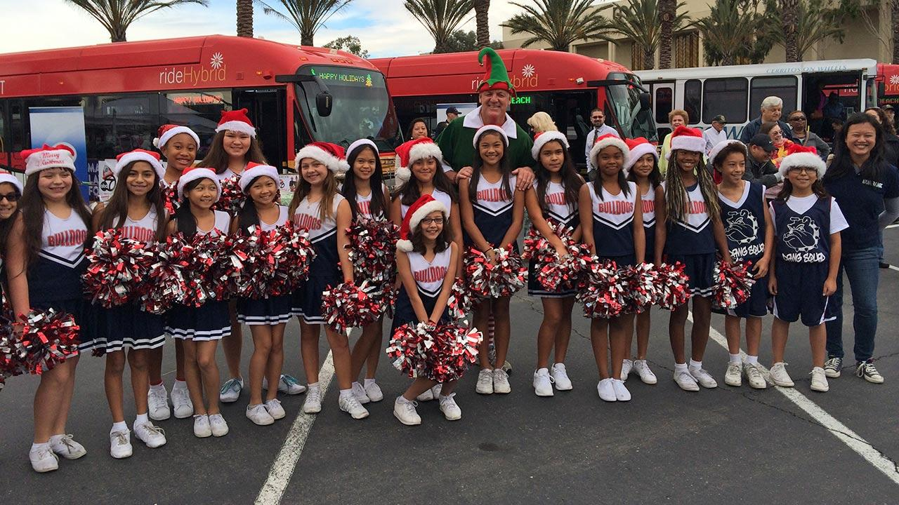 The Spirit Squad from Luther Burbank Elementary School in Artesia visit Garth the Elf at our first Stuff-A-Bus event of 2013 at Los Cerritos Center on Friday, Nov. 22, 2013.
