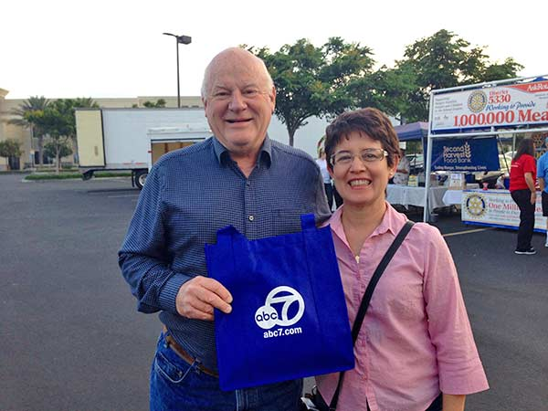 "<div class=""meta ""><span class=""caption-text "">Rancho Cucamonga residents Bill and Cindy pose after making their donation at the Feed SoCal event in Ontario on Friday, July 26, 2013. (KABC Photo)</span></div>"