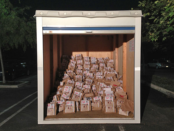 A PODS&reg; unit is shown filled with donated food at the Feed SoCal event in Thousand Oaks on Friday, July 19, 2013. <span class=meta>(KABC Photo)</span>