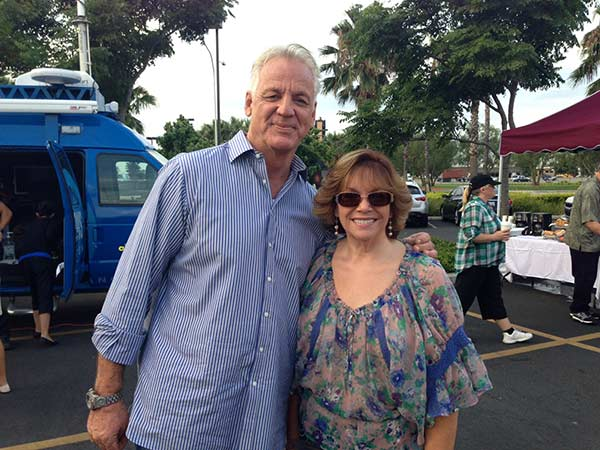 ABC7 Weathercaster Garth Kemp poses with Tara from Chino at the Feed SoCal event in Ontario on Friday, July 26, 2013. <span class=meta>(KABC Photo)</span>