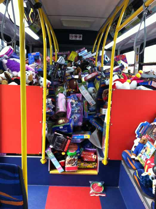 The inside of bus No. 1 is shown at about 9:30 a.m. Friday at the &#39;Spark of Love Toy Drive&#39; at Los Cerritos Center on Nov. 18, 2011. <span class=meta>(KABC Photo)</span>