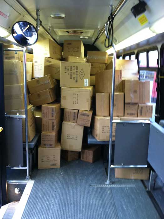 "<div class=""meta ""><span class=""caption-text "">The inside of bus No. 4 is shown shortly after 1:30 p.m. at the 'Spark of Love Toy Drive' at Los Cerritos Center on Friday, Nov. 18, 2011. (KABC Photo)</span></div>"