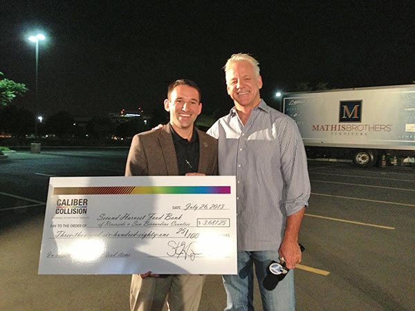 "<div class=""meta ""><span class=""caption-text "">ABC7 Weathercaster Garth Kemp poses with Josh, a Caliber Collision representative, who donated a check for $3,681.25 to the Feed SoCal event in Ontario on Friday, July 26, 2013. (KABC Photo)</span></div>"