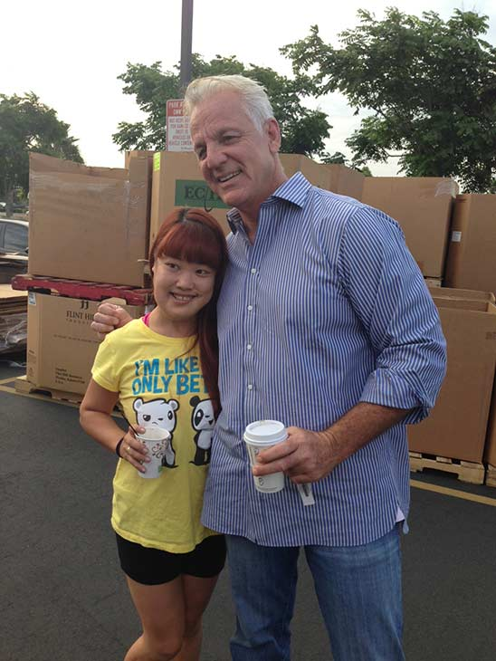 ABC7 Weathercaster Garth Kemp poses with Catalina from Pomona at the Feed SoCal event in Ontario on Friday, July 26, 2013. Catalina celebrated her birthday on Friday. Happy birthday Catalina! <span class=meta>(KABC Photo)</span>