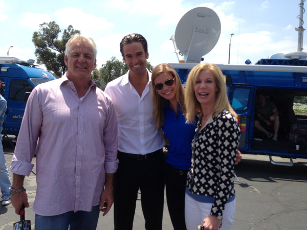 ABC7 Weathercaster Garth Kemp poses with Reporter Elex Michaelson, Meteorologist Bri Winkler and Food Coach Lori Corbin at a fundraising event at the Rose Bowl in Pasadena to help the victims of the Oklahoma tornado on Wednesday, May 22, 2013. <span class=meta>(KABC)</span>