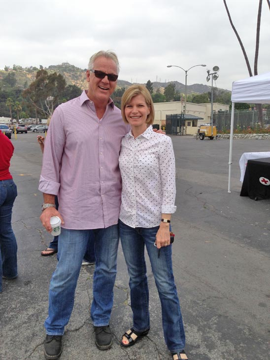ABC7 Weathercaster Garth Kemp poses with ABC7 Anchor Michelle Tuzee at a fundraising event at the Rose Bowl in Pasadena to help the victims of the Oklahoma tornado on Wednesday, May 22, 2013. <span class=meta>(KABC)</span>