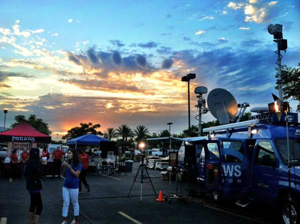 Volunteers set up for the Feed SoCal event in Ontario on Friday, July 26, 2013. <span class=meta>(KABC Photo)</span>