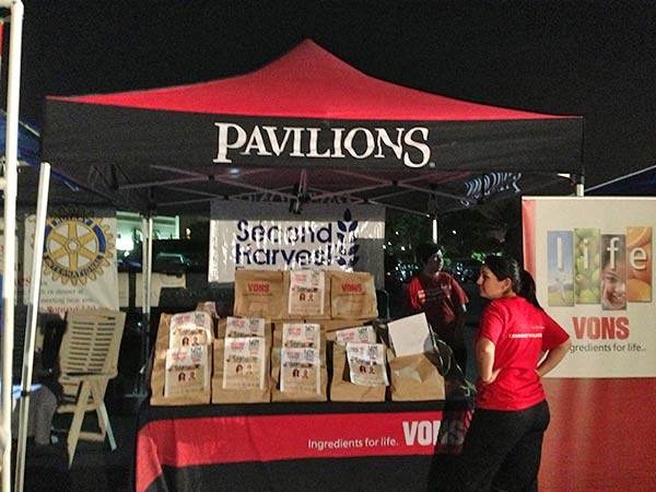 Bags of food are set up at a booth at the Feed SoCal event in Ontario on Friday, July 26, 2013. <span class=meta>(KABC Photo)</span>