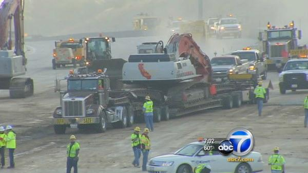 People are staying off the roads and construction crews are making good progress so far on the second day of Carmageddon.