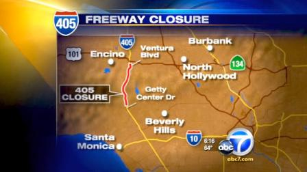 The northbound 405 Freeway will be closed between Getty Center Drive and Ventura Boulevard for construction starting Tuesday night.