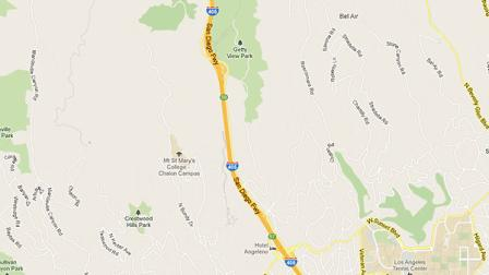 This Google map shows a portion of the 405 Freeway through the Sepulveda Pass.