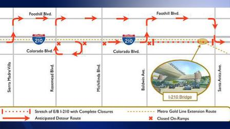 Eastbound lanes of the 201 Freeway will be closed between Rosemead Blvd. and Santa Anita Ave. Monday night.