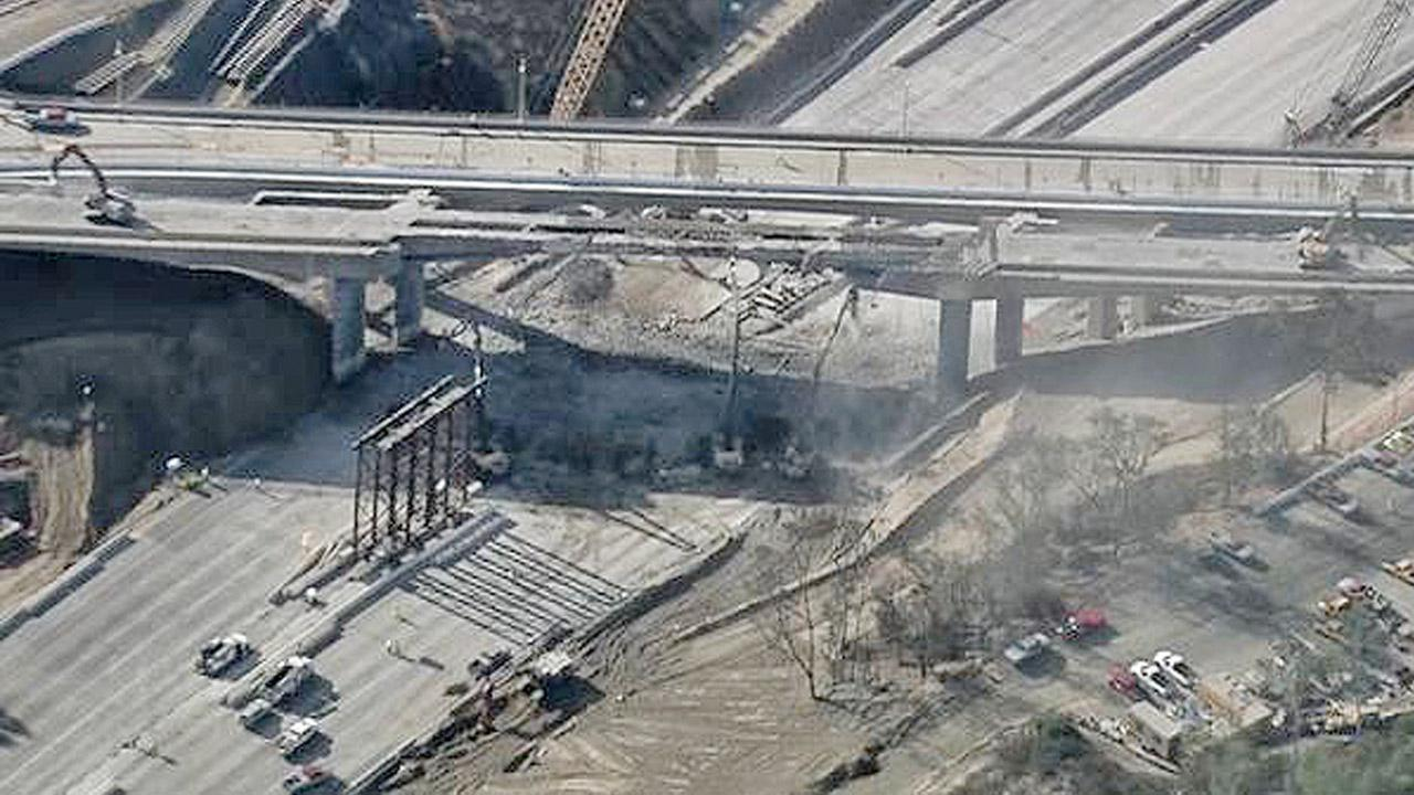 The Mulholland Drive Bridge demolition is seen in this aerial shot taken from AIR7 HD on Saturday, Sept. 29, 2012.