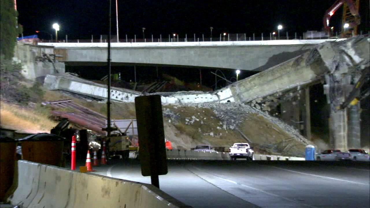 The demolition of the Mulholland Drive Bridge during Carmageddon 2 on Saturday, Sept. 29, 2012.