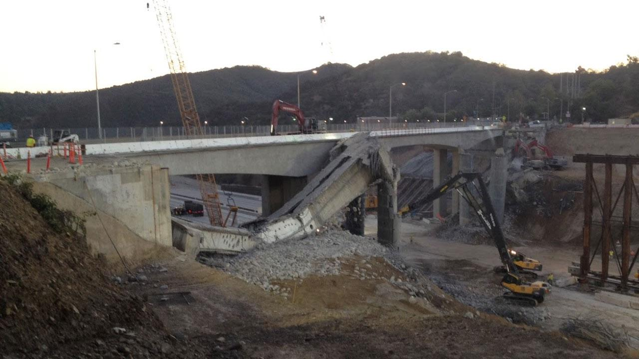 Caltrans posted this photo on their Twitter account of the Mulholland Drive Bridge on Sunday, Sept. 30, 2012. <span class=meta>(www.twitter.com&#47;CaltransDist7)</span>