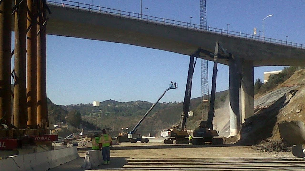 Caltrans posted this photo on their Twitter account of the Mulholland Drive Bridge on Sunday, Sept. 30, 2012.www.twitter.com/CaltransDist7