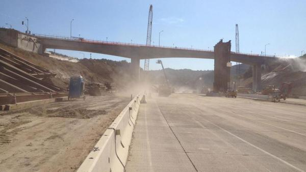 Caltrans posted this photo on their Twitter account of the Mulholland Drive Bridge on Sunday, Sept. 30, 2012.