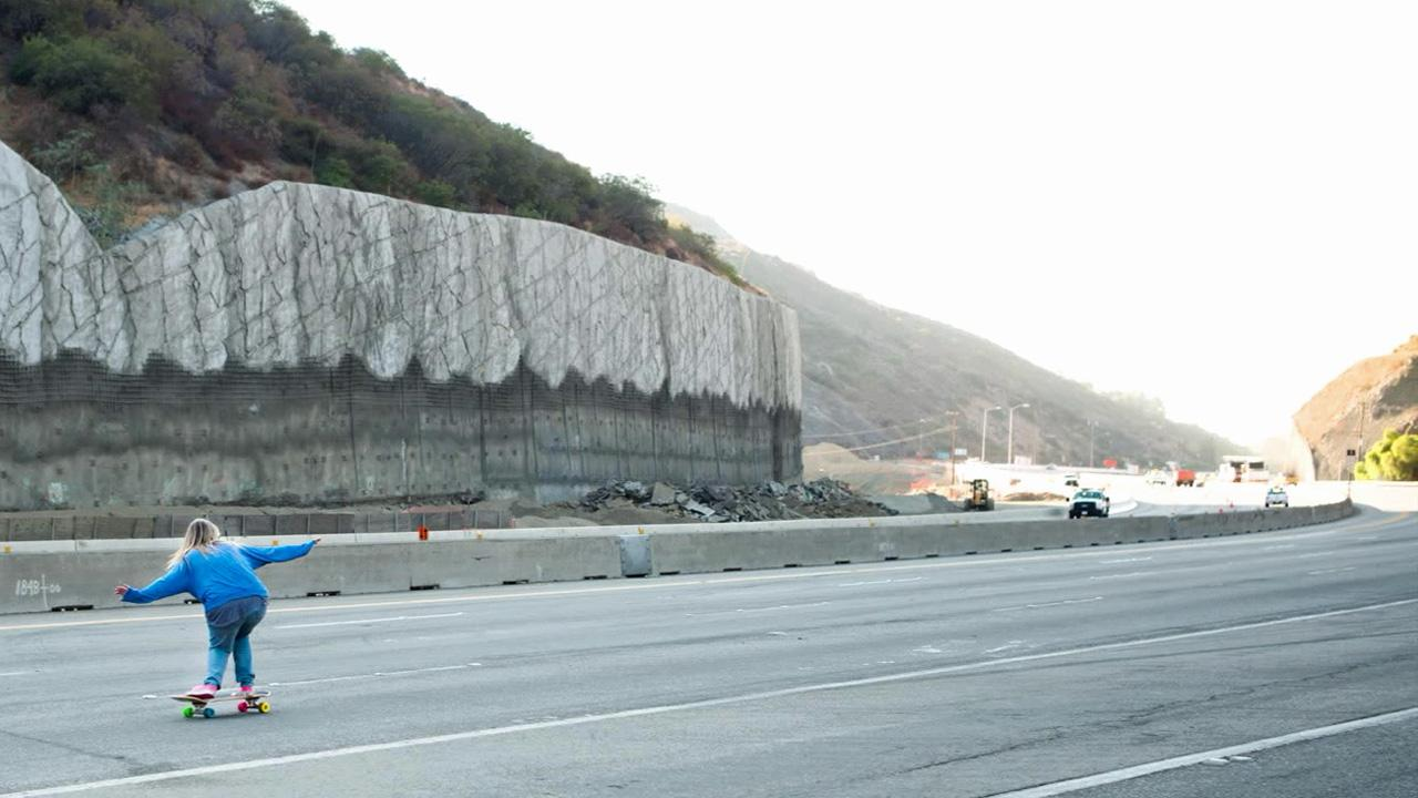 Cindy Whitehead is seen on a closed portion of the I-405 during Carmageddon 2 weekend. The 405 Freeway was closed from the 10 to 101 freeways on Sept. 29 and Sept. 30 as crews demolished the north side of the Mulholland Drive Bridge. <span class=meta>(ABC7 viewer Cindy Whitehead)</span>
