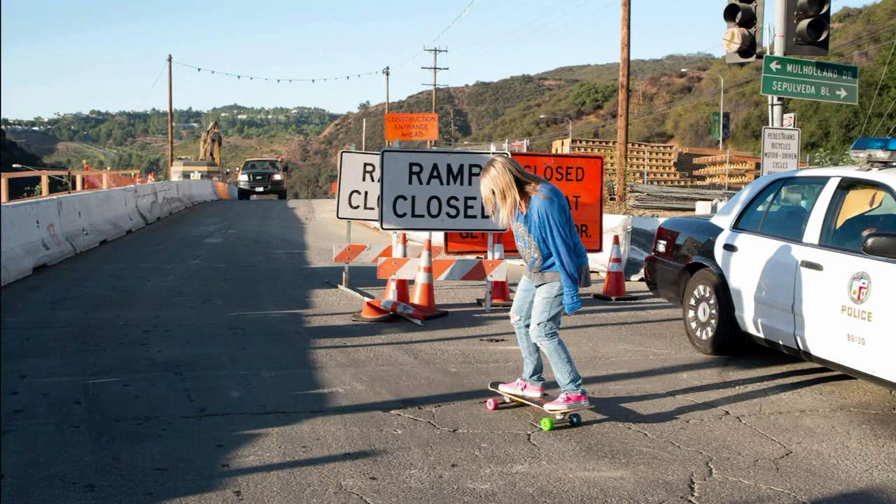 Cindy Whitehead is seen on a closed portion of the I-405 during Carmageddon 2 weekend. The 405 Freeway was closed from the 10 to 101 freeways on Sept. 29 and Sept. 30 as crews demolished the north side of the Mulholland Drive Bridge.ABC7 viewer Cindy Whitehead