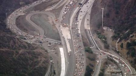 A diesel fuel spill on the northbound 405 Freeway snarled traffic through the Sepulveda Pass on Friday, Oct. 19, 2012.