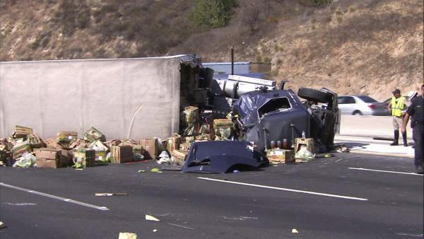 One of the big rigs involved in a major accident on the 60 Freeway was loaded with bananas, which littered the road on Friday, Oct. 19, 2012.