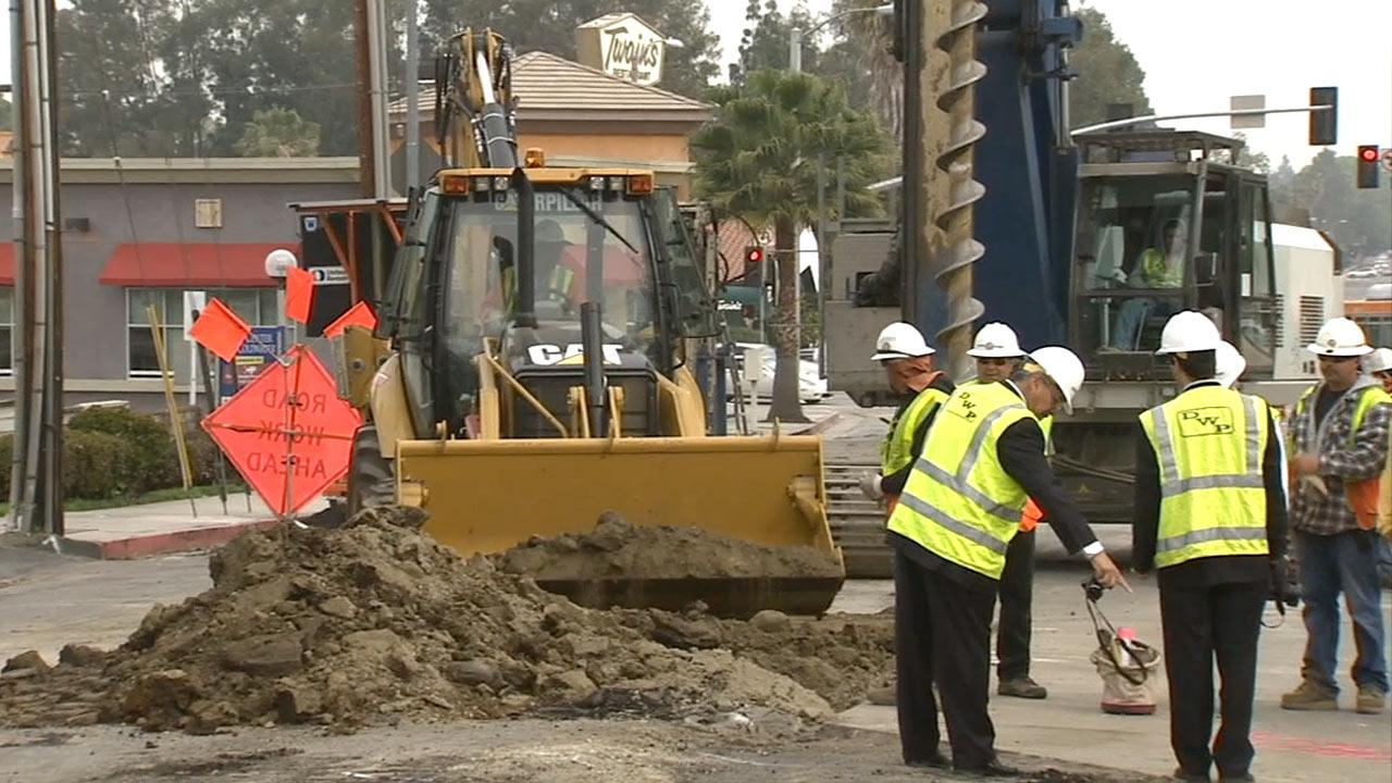 Construction on Coldwater Canyon Avenue in Los Angeles on Wednesday, March 20, 2013.