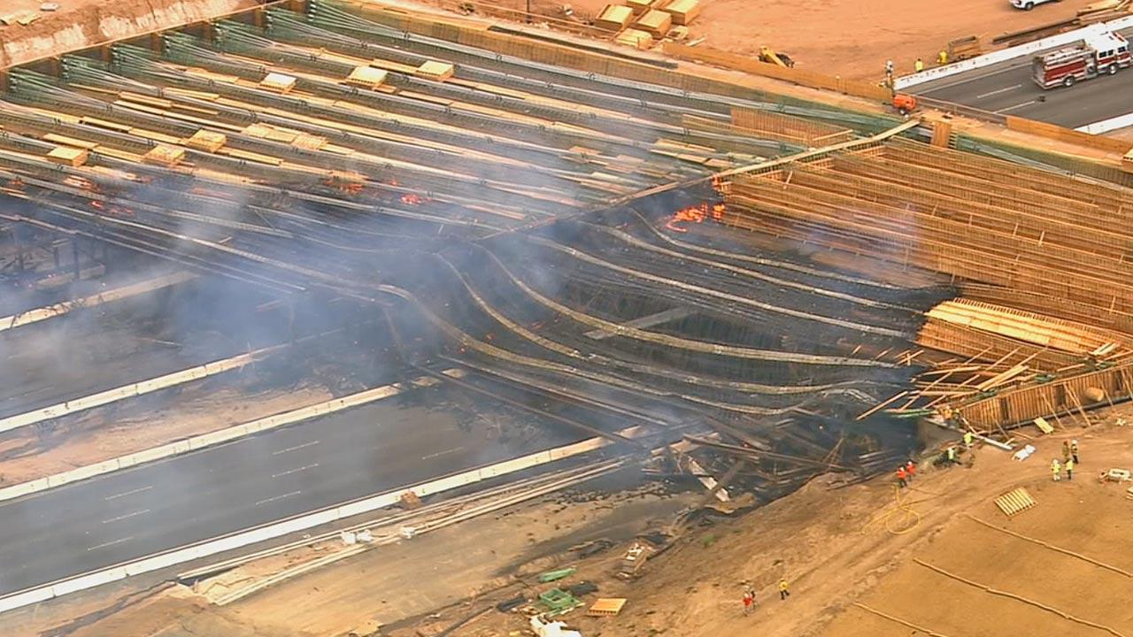 The Ranchero Road Bridge overpass caught fire and collapsed in Hesperia Monday afternoon, May 5, 2014, forcing the closure of the I-15 in the area.