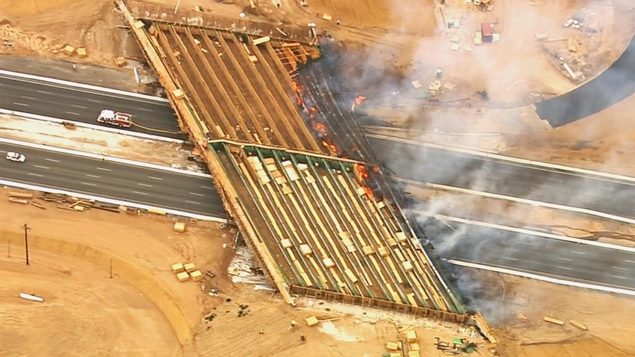 The Ranchero Road Bridge overpass caught fire in Hesperia Monday afternoon, forcing the closure of the I-15 in the area.