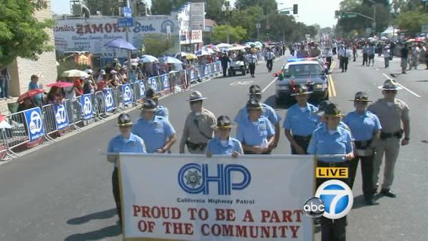 The California Highway Patrol marches down