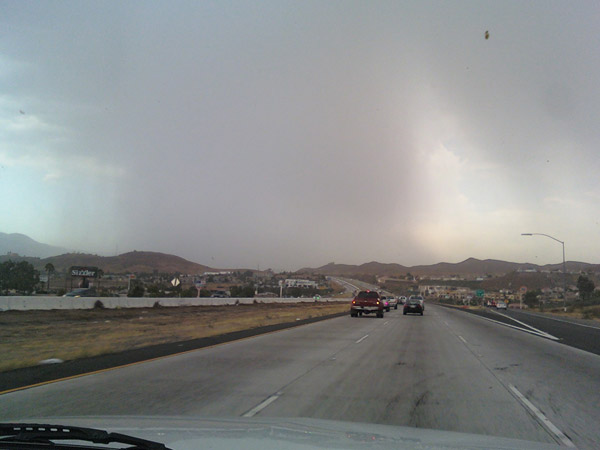 From ABC7 viewer Kelley DeLung, storm seen from the 15 Freeway near Lake Elsinore on Aug. 25, 2010. &#160;When you see breaking news happen, send your photos to video@myabc7.com, or send them to @abc7 on Twitter <span class=meta>(ABC7 viewer Kelley DeLung)</span>