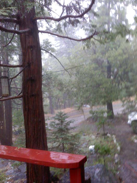From ABC7 viewer Nancy, rain and hail in Forest Falls on Aug. 25, 2010. &#160;When you see breaking news happen, send your photos to video@myabc7.com, or send them to @abc7 on Twitter <span class=meta>(ABC7 viewer Nancy)</span>