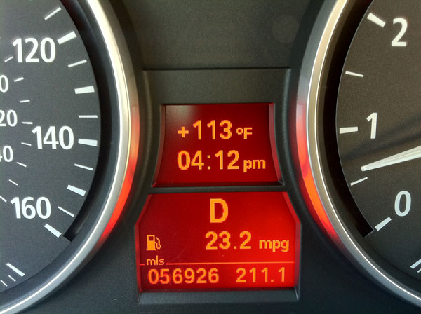 ABC7 viewer David Crown checks the temperature while driving through Van Nuys shortly after 4 p.m. on Monday, Sept. 27, 2010. &#160;Submit your &#39;hot shots&#39; to  Eyewitness News, or send them to video@myabc7.com. <span class=meta>(ABC7 viewer David Crown)</span>