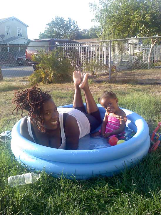 An ABC7 viewer and her daughter try to beat the heat by going for an afternoon swim on Monday, Sept. 27, 2010.