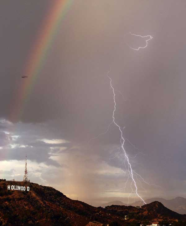 Scattered showers across the Los Angeles area provided views of lightning and a rare double rainbow on Wednesday, Sept. 29, 2010. &#160;When you witness breaking news happen, send your photos to video@myabc7.com, or send them to @abc7 on Twitter <span class=meta>(Gene Blevins, L.A. Daily News)</span>