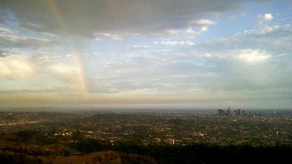 ABC7 viewer Chris Islas sent in this photo of a rainbow in the Los Angeles area following scattered showers on Wednesday, Sept. 29, 2010.