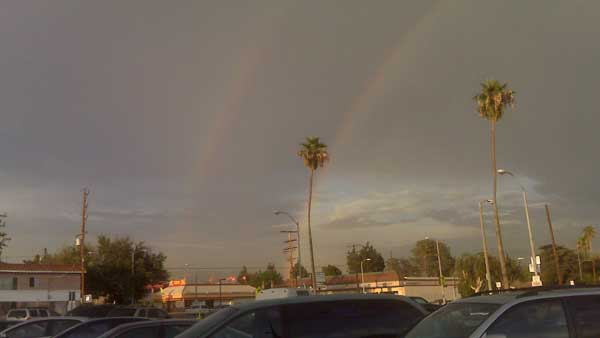 ABC7 Viewer Ego Lex sent in this photo of a rare double rainbow in the Los Angeles area following scattered showers on Wednesday, Sept. 29, 2010. &#160;When you witness breaking news happen, send your photos to video@myabc7.com, or send them to @abc7 on Twitter <span class=meta>(ABC7 Viewer Ego Lex)</span>
