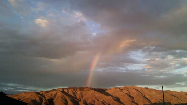 ABC7 viewer Nicole Borer sent in this photo of a rainbow in San Jacinto following a rain storm on Friday, Oct. 1, 2010.  &#160;When you witness breaking news happen, send your photos to video@myabc7.com, or send them to @abc7 on Twitter <span class=meta>(ABC7 viewer Nicole Borer)</span>