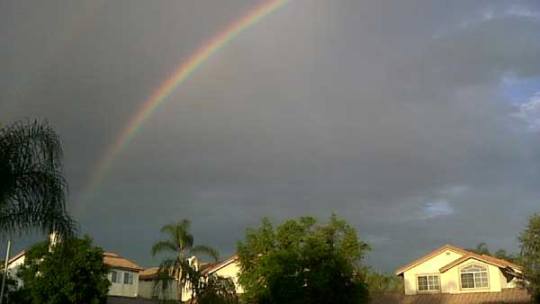 ABC7 viewer C Christianson sent in this photo of a rainbow in Riverside following a rain storm on Friday, Oct. 1, 2010.  &#160;When you witness breaking news happen, send your photos to video@myabc7.com, or send them to @abc7 on Twitter <span class=meta>(ABC7 viewer C Christianson)</span>