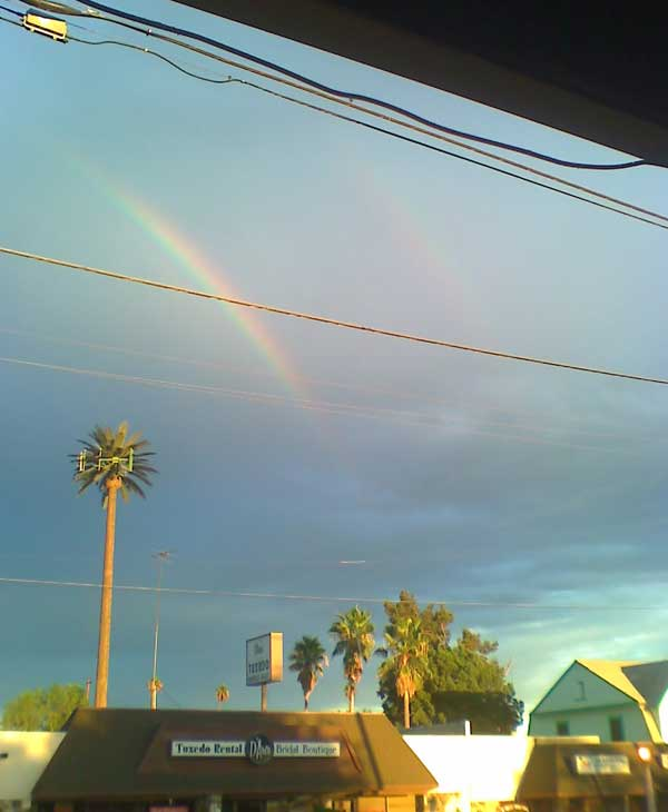 ABC7 viewer Theresa Kee sent in this photo of a rainbow in San Bernardino following a rain storm on Friday, Oct. 1, 2010.  &#160;When you witness breaking news happen, send your photos to video@myabc7.com, or send them to @abc7 on Twitter <span class=meta>(ABC7 viewer Theresa Kee)</span>