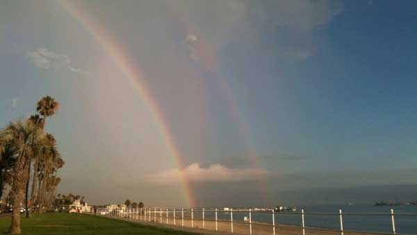ABC7 viewer Di Silver sent in this photo of a rainbow in Long Beach following a rain storm on Friday, Oct. 1, 2010.  &#160;When you witness breaking news happen, send your photos to video@myabc7.com, or send them to @abc7 on Twitter <span class=meta>(ABC7 viewer Di Silver)</span>