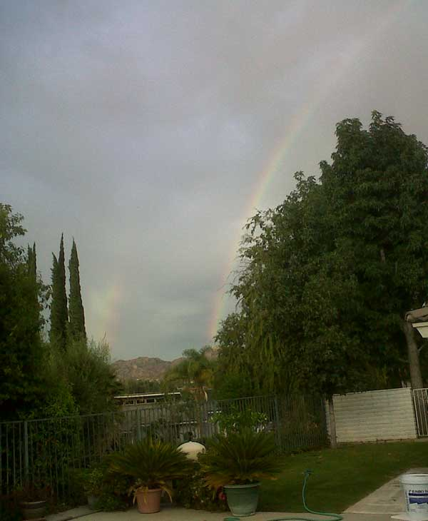 "<div class=""meta ""><span class=""caption-text "">ABC7 viewer Jim Thayer sent in this photo of a double rainbow in Riverside following a rain storm on Friday, Oct. 1, 2010.   When you witness breaking news happen, send your photos to video@myabc7.com, or send them to @abc7 on Twitter (ABC7 viewer Jim Thayer)</span></div>"