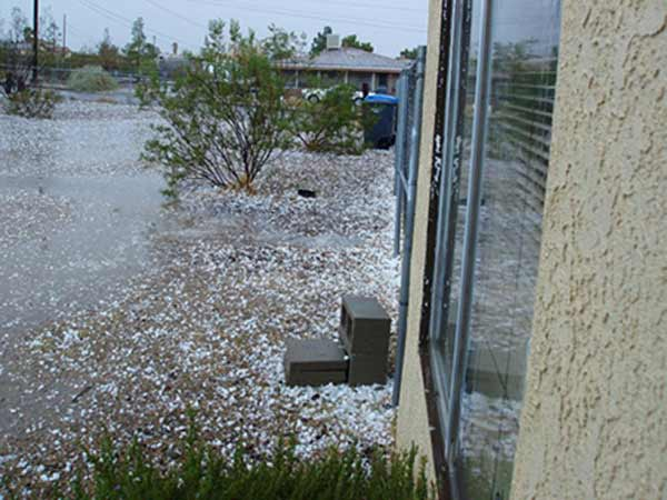 ABC7 viewer Alan K. Whittaker sent in this photo of hail seen in Barstow on Tuesday, October 19, 2010.  When You Witness breaking news, or even something extraordinary, send pictures and video to video@myabc7.com, or send them to @abc7 on Twitter <span class=meta>(ABC viewer Alan K. Whittaker)</span>
