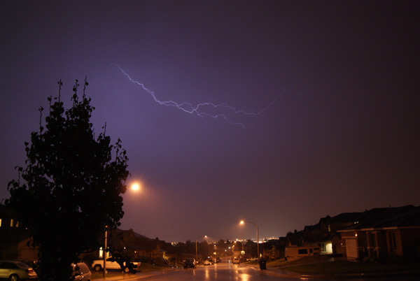 ABC7 viewer Erik Ortiz sent in this photo of lightning seen over Palmdale on Tuesday, Oct. 19, 2010.