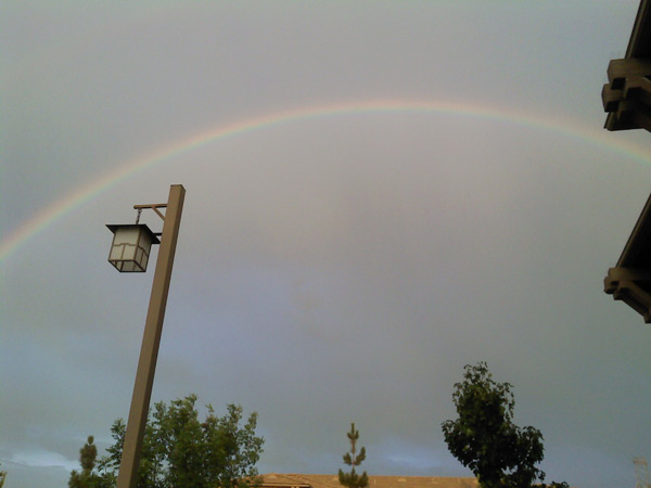 ABC7 viewer Nancy Hernandez from Rancho Cucamonga sent in this photo of a rainbow on Tuesday, Oct. 19, 2010.  When You Witness breaking news, or even something extraordinary, send pictures and video to video@myabc7.com, or send them to @abc7 on Twitter <span class=meta>(ABC7 viewer Nancy Hernandez)</span>