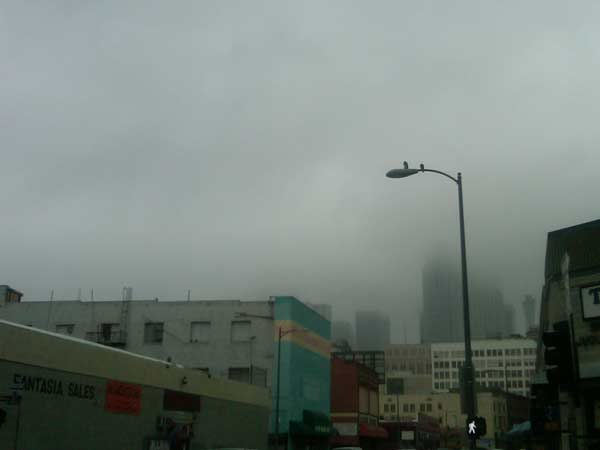 An ABC7 viewer sent in this photo of a very muggy downtown Fashion District on Wednesday, Oct. 20, 2010. When You Witness breaking news, or even something extraordinary, send pictures and video to video@myabc7.com, or send them to @abc7 on Twitter <span class=meta>(An ABC7 viewer)</span>