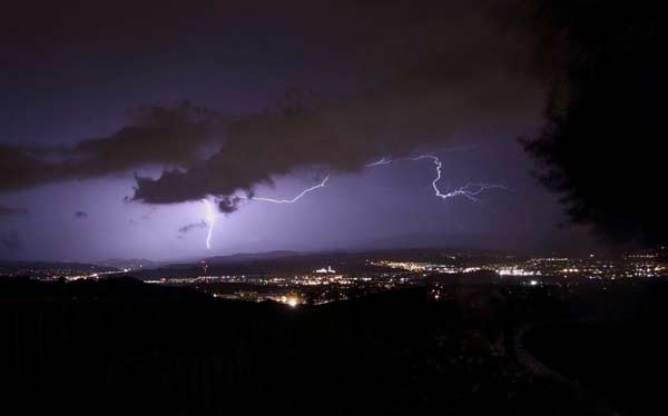ABC7 viewer Mark Grover of Granada Hills sent in this photo of lightning seen over Santa Clarita on Tuesday, Oct. 19, 2010.