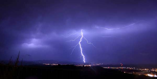 ABC7 viewer Mark Grover of Granada Hills sent in this photo of lightning seen over Santa Clarita on Tuesday, Oct. 19, 2010. When You Witness breaking news, or even something extraordinary, send pictures and video to video@myabc7.com, or send them to @abc7 on Twitter <span class=meta>(ABC7 viewer Mark Grover)</span>